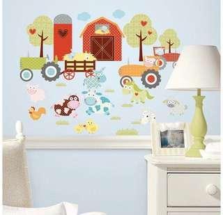 美國Roomates BB房 幼稚園 佈置 牆貼 重複貼 可愛動物農場