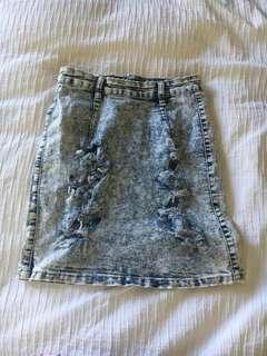 Loving Things Washed Denim Skirt