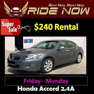 $240 Honda Accord 2.4A Weekend Car Rental