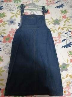 🚚 韓國ulzzang學院風深藍色大口袋吊帶裙