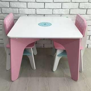 ELC Pink Wooden Kids Table & Chairs Set