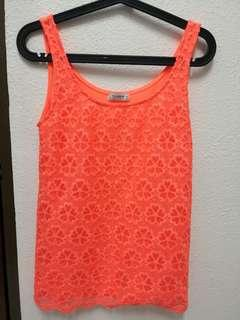 Original Pull and Bear Crop Top in Neon Pink / Orange with floral details