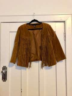 Leather festival Fringe cowgirl suede jacket best suited size 10