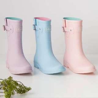 瑪姬店 溫和色撞色中筒短筒防滑膠鞋雨靴雨鞋水鞋短靴RainBoots(35-40)三色入荷hkD338(包順豐)