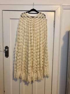 Vintage cream crochet cape with fringe detail