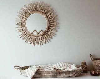 Rustic Accent Mirror made of Rattan