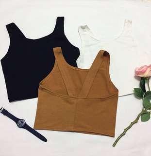 Crop Singlet  - Khaki, White, Black Free Size