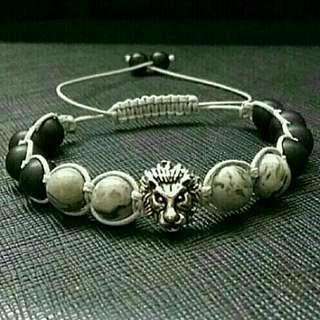 🚚 Special Sales Silver Lion Shamballa Macrame Strap Bracelet, Yogastones Shamballa Bracelet, Healing Shamballa, Gemstone Shamballa Macrame Grey Jasper Onyx Shamballa