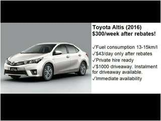 Toyota Altis 2016 For Rent! $150 GoJek rebates! Private Hire Use Ready! Immediate driveaway! No upfront rental! Lease to own available! Long term leasing! Cheap cars for rent!