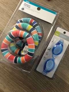 Pool goggles and throw rings