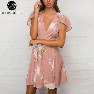 Women floral print beach dress
