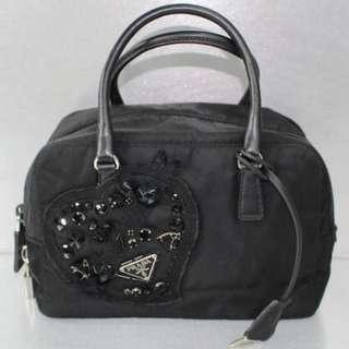 Prada Black Nylon Evening Heart Handbag