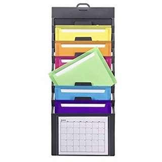 Smead Cascading Wall Organizer Bright Color Pockets 1-Pack Gray/Bright