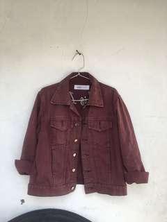 Jaket Jeans maroon