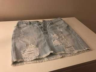 High Waisted Lightwash Ripped Jean Button-up Skirt