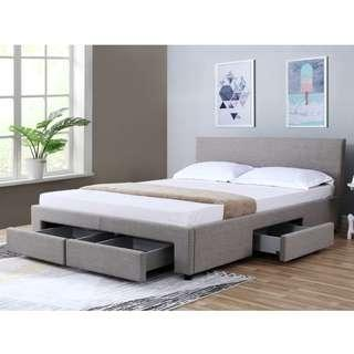 NICOLE UPHOLSTERED FABRIC DOUBLE BED WITH DRAWERS