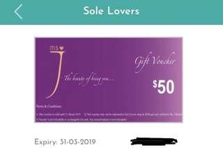 🚚 JWest SoleLovers Ms J collection $50 voucher
