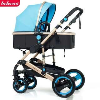 Belecoo stroller can sit and fold two-way four-wheel shock absorber baby stroller-intl