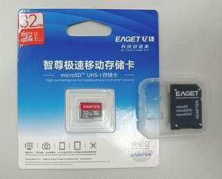 全新 32G 億捷 Eaget TF UHS-I Micro SD記憶卡