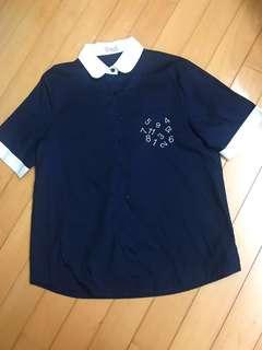 大尺碼Big Women dark blue shirt with white collar