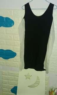 黑白色 舒適睡裙