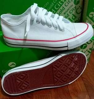 White Sneakers with red black stripe