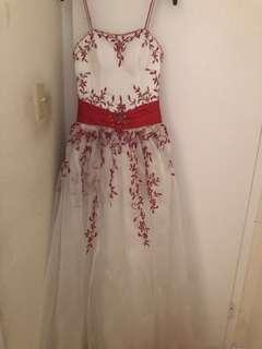 Red and white ballgown