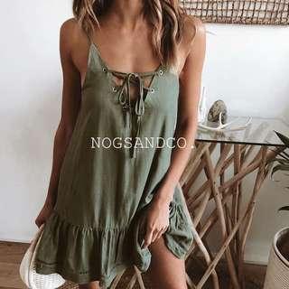 NC1533 Drawstring A-Line Dress (Green/White)