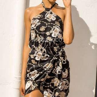 NC1532 Sexy Halter Neck Tigh Up Dress (Black/White)