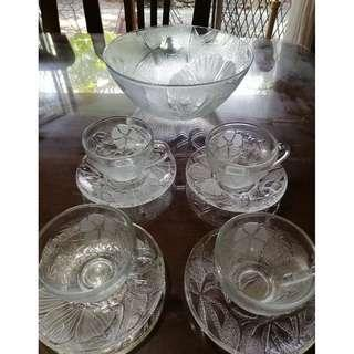 Glass Cup & Saucer for 4 with Serving Bowl
