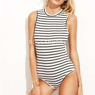 NC1535 Zip Behind Simple Body Suit (Yellow/Stripes)