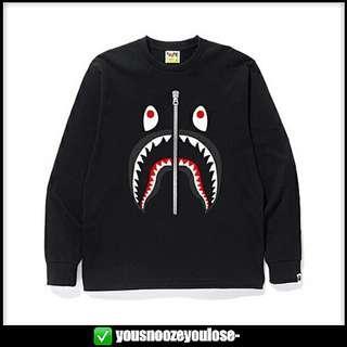 🚚 🔥INSTOCK🔥 BAPE SHARK LOGO LONG SLEEVE BLACK T SHIRT TEE