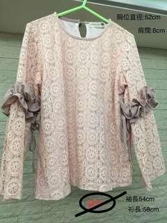 韓國 粉紅色 lace 女裝衫