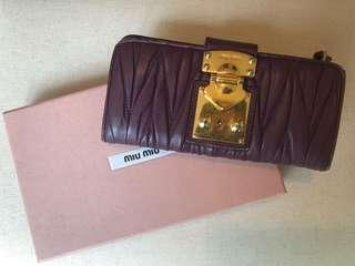 🚚 Auth MIU MIU Lambskin Wallet