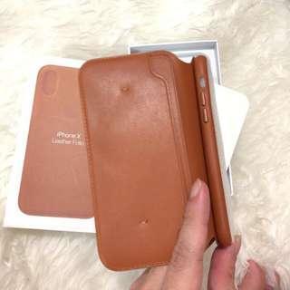 Apple Iphone X XS Leather folio case brown