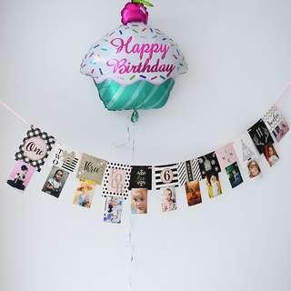 **NEW ARRIVAL** Birthday / Anniversary Milestone Banner Deco - Pink