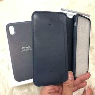 Apple Iphone X XS Leather Folio case Dark Blue