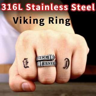 🚚 [Men Accessories]🔱Double Layer Viking Rune Charm Nordic Thor Hammer Stainless Steel Men Ring Men Fashion Jewelry🔱