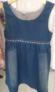 dress cotton print denim size 7t /140 baru new sisa stock import