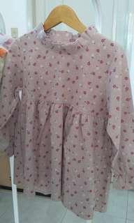dress bunga pink sisa stock baru size L 3T import