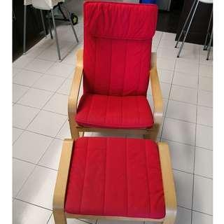 IKEA POÄNG Armchair with Footstool (Ransta Red)