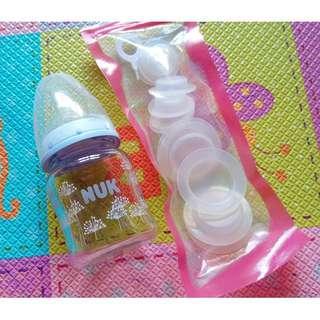 🚚 全新「NUK」寬口玻璃奶瓶 120ML +「媽咪小站 mammyshop」奶瓶儲存墊片