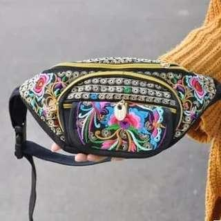 Floral Embroidery Vintage Canvas Waist Chest Bag