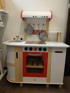 德國 Hape 愛傑卡廚房系列-豪華版廚具台+,BBQ食材組