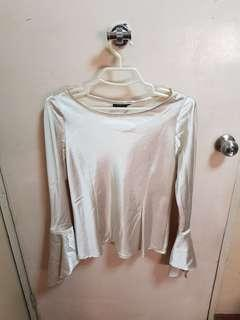Silky Champagne Top with Bell Sleeves