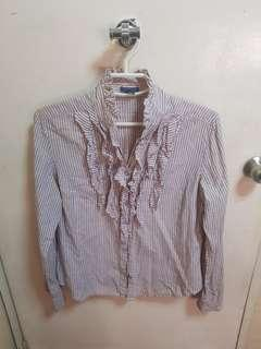 Mango Purple Long-sleeved blouse