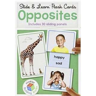 Brand New Hinkler Slide & Learn Flash Cards Opposites Includes 30 Sliding Panels - One of the best for visual literacy skills in early childhood