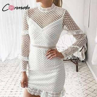 Hollow out double layer dress