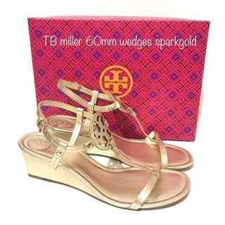 Tory Burch Miller Wedges Sandal 60mm Spark Gold Available Size 6/8.5/9