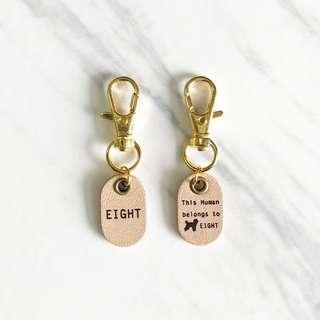 Matching Natural Tiny Pet Tags Human and Dog Silent Noiseless Dog Cat Small Lightweight Painted Leather ID Tag Personalized Avaloncraft